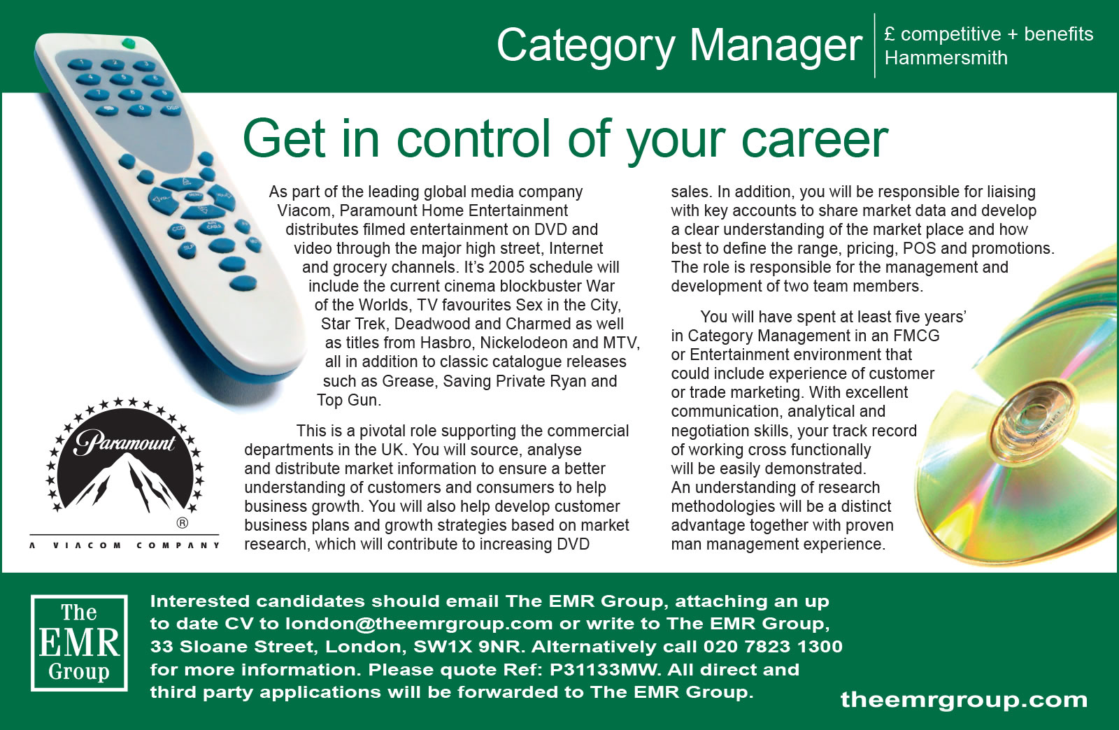 EMR - Recruitment advert - Paramount