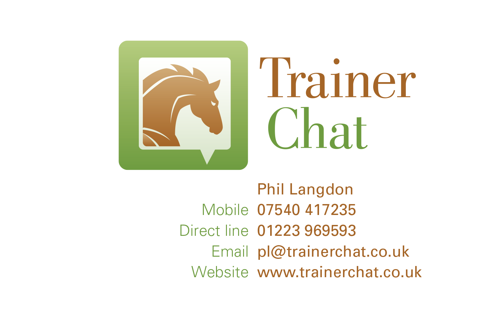 trainer chat card front